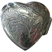 REDUCED Vintage Sterling Silver Heart Shaped Pill Box with Ornate Engraved Decorative Lid - ..