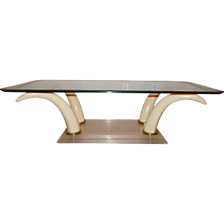 REDUCED Vintage Mid-Century Modern Faux Horn, Lucite, Brass and Beveled Glass Cocktail (Coffee) Table