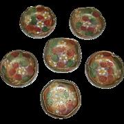 REDUCED Vintage Set of 6 Oriental Japanese Hand Painted Porcelain Floral Open Salts / Salt Dip