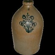 SOLD 19TH c. 3 gallon Saltglaze Stoneware Cylindrical Jug with Cobalt Blue Slip Trailed Foliat