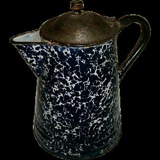 REDUCED Antique Victorian Deep Cobalt Blue & White Swirl Graniteware Enamelware Coffee Pot