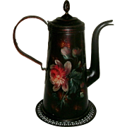 Wonderful 19th Century Toleware Gooseneck Teapot with Elaborate Floral Decoration - Hinged Lid