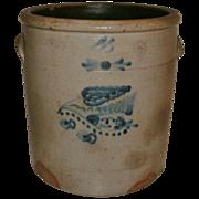 "SOLD 19th Century 4 Gallon Saltglaze Stoneware Crock with Rare & Ornate ""BIRD IN FLIG"
