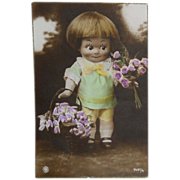SOLD Fantasy Doll with Flowers Postcard~Standing Doll with Purple Bouquets