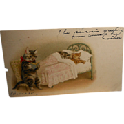 SOLD Fantasy Cat Sitting in Chair Reading Book to Cats Asleep in Bed Postcard