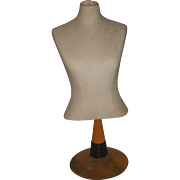 SOLD Fabulous Vintage Table Top Half Size Dress Form Mannequin on Wood Decorative Stand Great