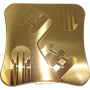 SOLD Elgin American Gold toned Art Deco Style compact