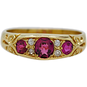 SALE Edwardian .50ct T.W. Ruby, 18K Yellow Gold & Diamond Wedding Band/Fashion Ring ...