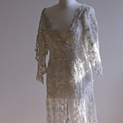 SOLD Reserved for F / Edwardian Hand-made Lace Wedding Dress or Gown / Free Shipping Worldwide