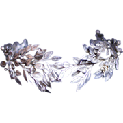 SOLD Reserved for A / Antique German Silver Leaf Bridal Crown and Corsage / Free Shipping Worl