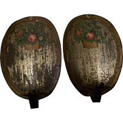 Pair of Antique Victorian Tin Candle Sconces