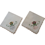 Pair of Linen Handkerchiefs with Hand Crochet and Embroidery