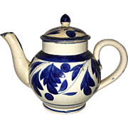 Staffordshire Pearlware Leeds Floral Miniature Toy Teapot Ca. 1820
