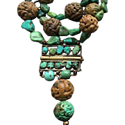 Magnificent Old Chinese Turquoise Carved Bead Necklace