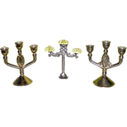 Three-pronged miniature candlesticks for doll houses (3 piece)