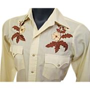 SOLD Men's Rockabilly Shirt Western Skinny Fit Pearl Snap Embroidery Rose Chute - Red Tag Sale
