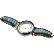 Vintage Women's Watch Sterling Silver Turquoise Opal Southwestern Signed