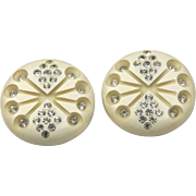 Vintage Celluloid Rhinestone Atomic Clip Earrings Round Lucite Mid Century Retro