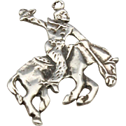 Vintage Sterling Silver Cowboy Rodeo Necklace Pendant Horse Western Jewelry