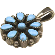 Vintage Sterling Silver & Turquoise Flower Necklace Pendant Petit Point