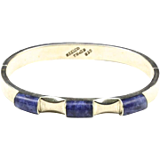 Vintage Taxco Sterling Silver and Sodalite Hinged Bracelet Signed Blue Stone