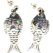 Vintage Sterling Silver Fish Dangle Earrings Turquoise Abalone Inlay Post Back
