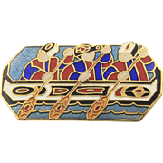 Barbara Lavealle Cloisonne Enamel NW Coast Native Alaska Rower Boat Pin Signed