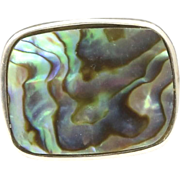 Vintage Sterling Silver and Abalone Ring Large Shell Size 7.5 Italy Artisan
