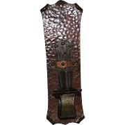 Hand Hammered Copper & Brass Candle Wall Sconce, Arts & Crafts Era
