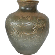 Massive Red Wing Lion Vase, 1926 - 30