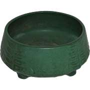 Weller Matte Green Footed Ferner with Embossed Fern Design, Ohio, early 1900's