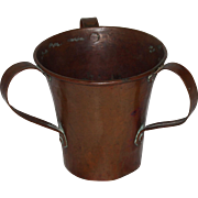 Hand Hammered Copper Tri-Handled Pass Cup, Arts & Crafts Era