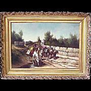 L. Edna Martin Oil Canvas Landscape With Mules 1895