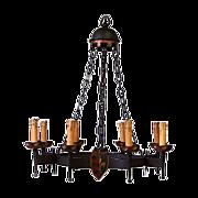 SALE Patinated Iron 8 Light Renaissance Style Chandelier