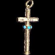 SOLD Victorian Retractable Pencil Figural Cross Pendant Rolled Gold/ 9ct Miniature Figural Cro