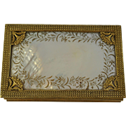 Georgian French  Palais Royal Mother Of Pearl/ Gilded Bronze Sewing Box with Mother of Pearl .