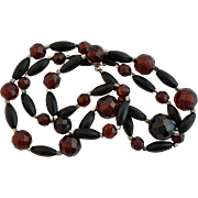 Antique Whitby Jet & Red Faceted Amber Bead Necklace