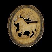 SALE Dieppe Horse Brooch Finely Carved Figural Rare Late 1700's Prisoner of War