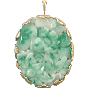 SALE 18k Carved Moss in Snow Jadeite Pin / Pendant