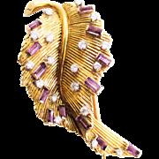 SALE 18K Estate Gubelin European Style Leaf Pin