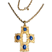 SALE Blue Lapis Gold Tone Cross on Chain Necklace Sarah Coventry