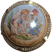 14k Gold Framed, Hand Painted, Sprite Brooch or Pendant