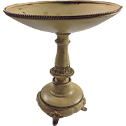 Shabby Chic Enameled Molded Metal Footed Candle Holder
