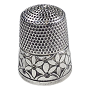 SOLD 1900's Silver Thimble, Simon Brothers, S Shield mark, Sz 10