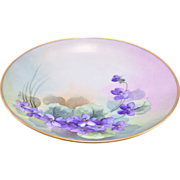 """Signed and Numbered Altwasser Silesia 1909-1935 Violets Hand Painted Cabinet Plate 7 3/8"""""""