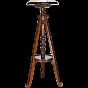 Victorian Fern Stand Dark Walnut and Marble Pedestal Table