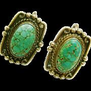 REDUCED Spiderweb Turquoise Fine Matrix Sterling Silver Harvey Era Screw Back Earrings