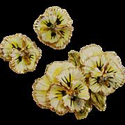 Coro Enamel Pansies Floral Brooch and Clip Earrings