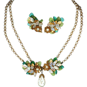 REDUCED signed Miriam Haskell baroque pearl and green glass demi parure