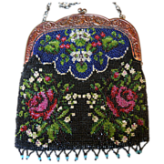 REDUCED Antique hand-beaded handbag Victorian vintage purse